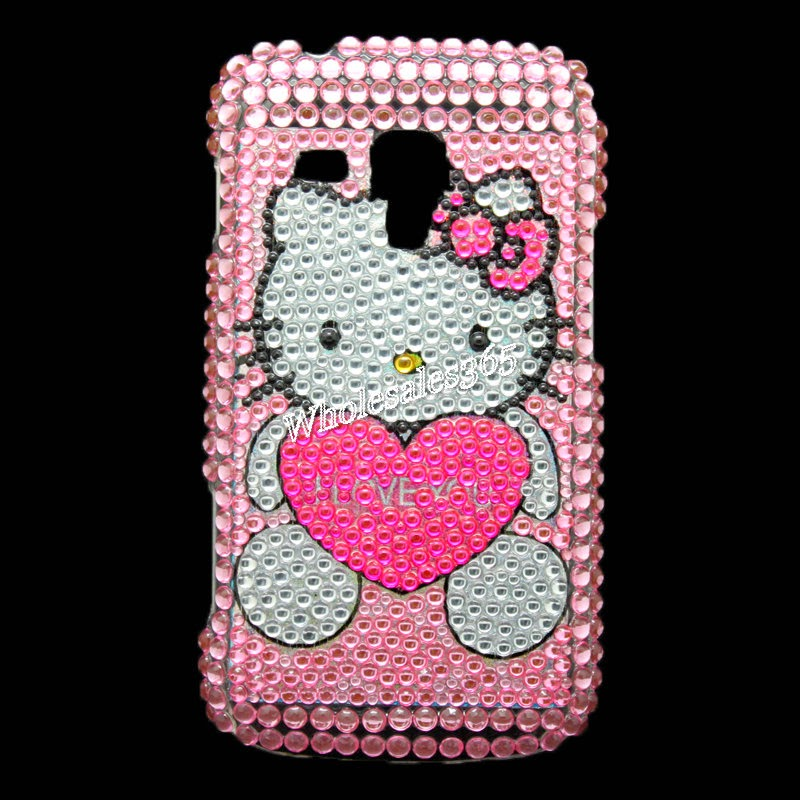 Hello Kitty Heart Crystal Gem Bling Case Cover For Samsung Galaxy S DUOS S7562