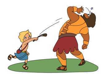 「魔法の弾丸」: 飛び道具 (Sling) で、敵の大将 (ゴリアテ) を討ち取る少年ダビデ