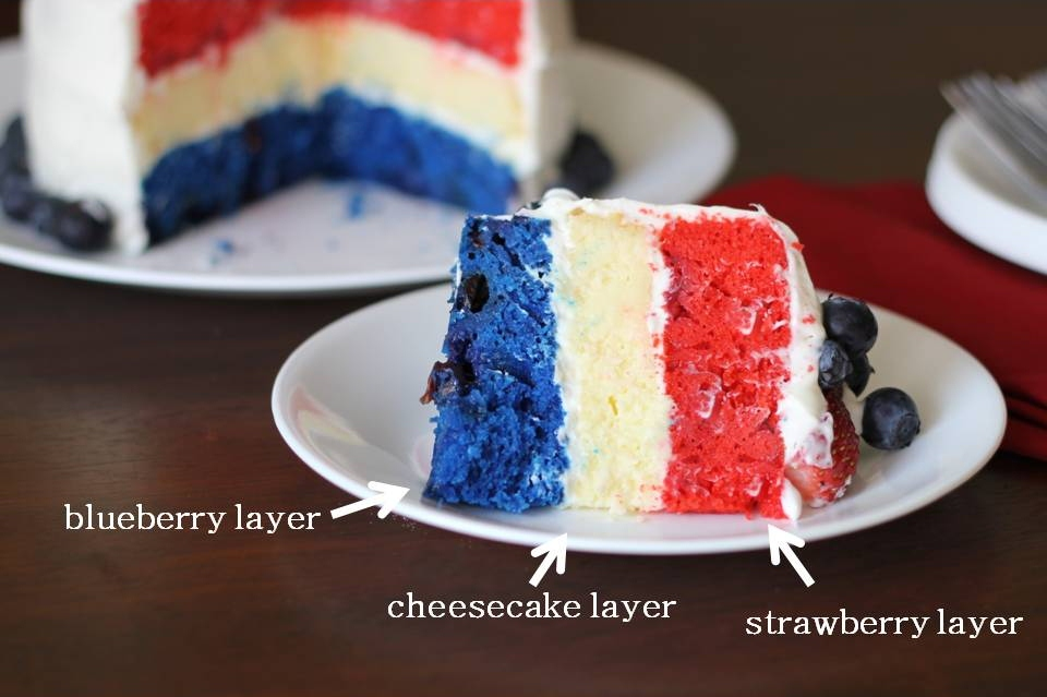 wrestled a cupcake once: Red, White, and Blue Cheesecake Layer Cake