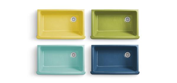 The granite gurus jonathan adler 39 s new sink collection for Coloured kitchen sinks
