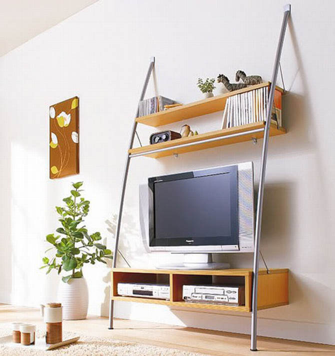 wall mounted shelving tv