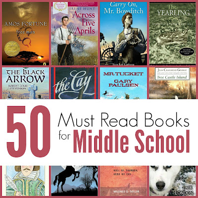 50 Must Read Books for Middle School- a selection of quality books from multiple genres, themes, and eras.