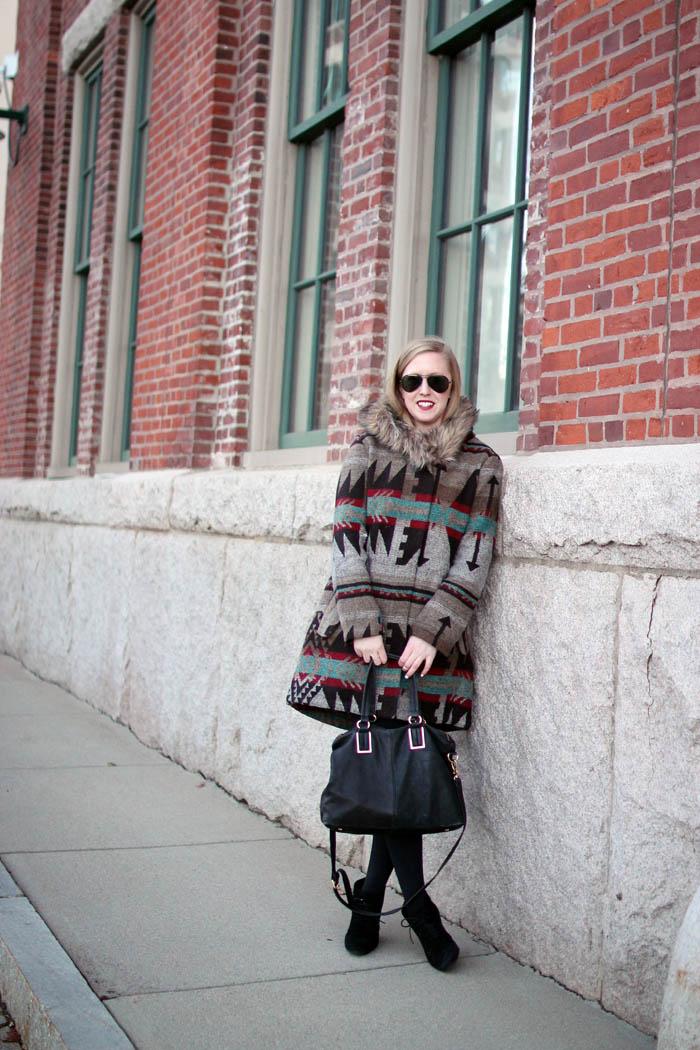 boston blogger, charlestown navy yard, boston style blog, bb dakota tribal jacket, faux fur hood