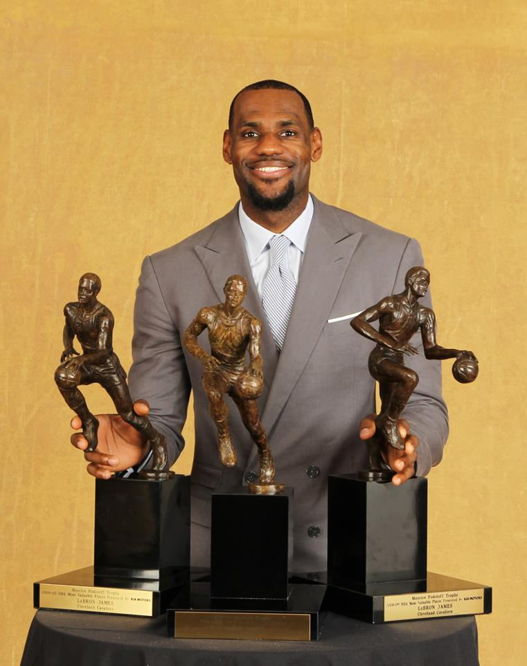 LeBron James With His 3 MVP Trophies