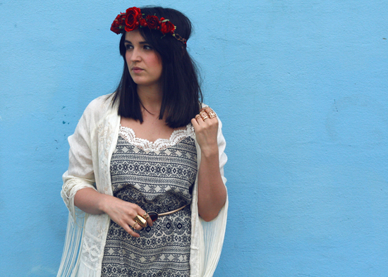 hippy, hippie, tassel, tassel kimono, kimono, aztec, aztec playsuit, art clothing, hearts and bows, lace, red rose, rose crown, rose headband , floral headband, festival headwear, gold rings, jeffrey campbell, platform boots, buckle platform boots