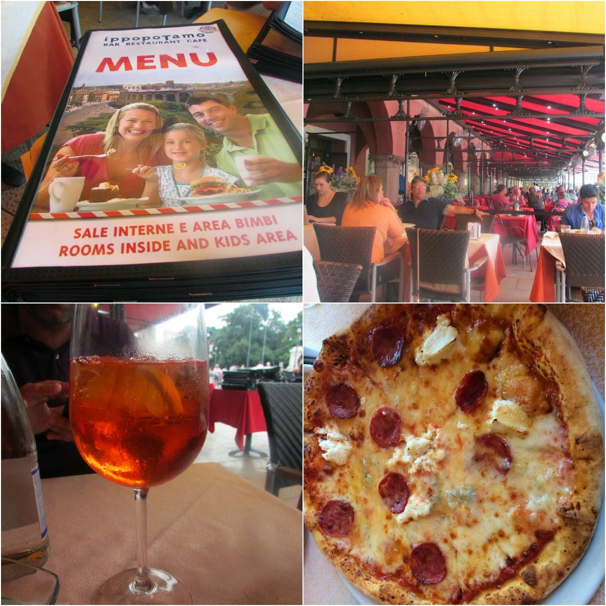 Itália, Verona, Piazza Bra, pizza, spritz, Ippopotamo