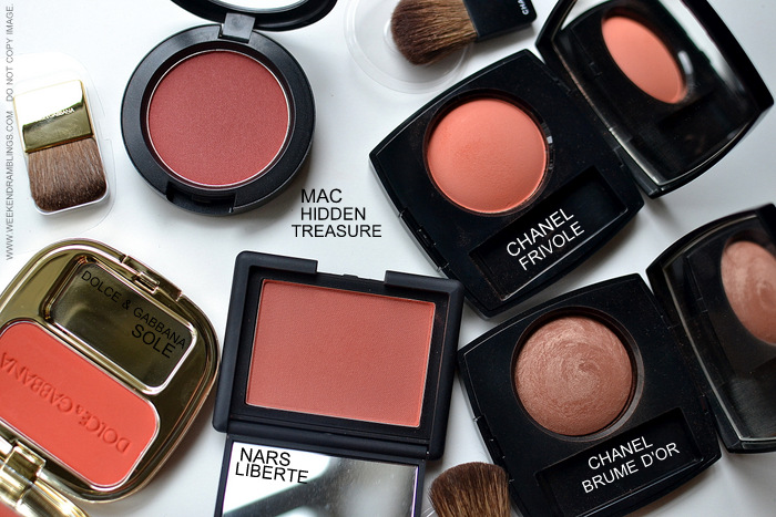 Best Must Have Bright Blushes for Summers Makeup Photos Swatches Dolce Gabbana Sole MAC Hidden Treasure Chanel Frivole Brume Dor NARS Liberte