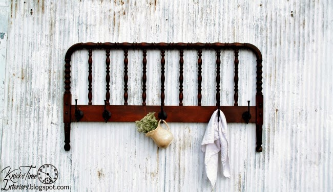 Repurposed Spindle Bed Frame Coat Rack by knickoftimeinteriors.blogspot.com