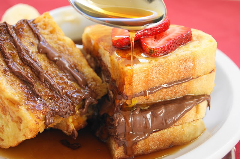 Nutella French Toast with Maple Syrup, Bananas ...