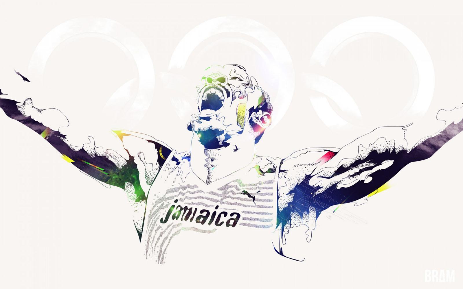Usain Bolt 2013 Super Jamaican Hero Cartoon HD Desktop Wallpaper