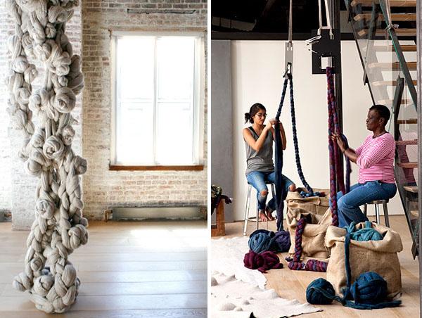 diseño textil con fieltro y lana Dana Barnes estudio working wool design