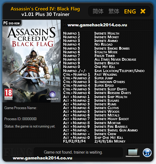 Assassin's Creed IV: Black Flag Trainer v1.01 (+30 Trainer)
