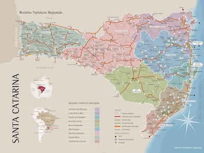 Mapa das regiões turísticas de Santa Catarina