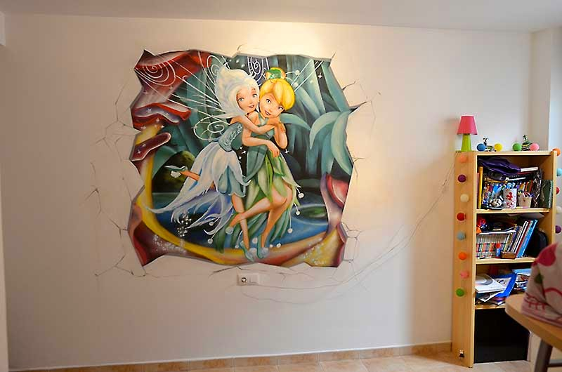 Mural infantil de campanilla y Periwinkle