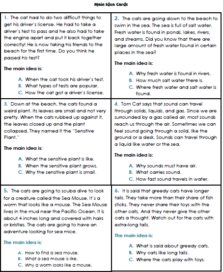 math worksheet : teacher s take out main idea file folder game : Kindergarten Main Idea Worksheets