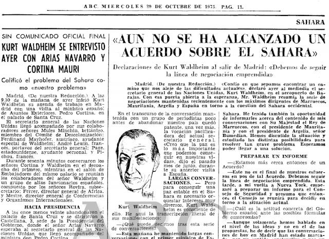 España, Marruecos y Mauritania no hicieron caso al SG Kurt Waldheim en 1975