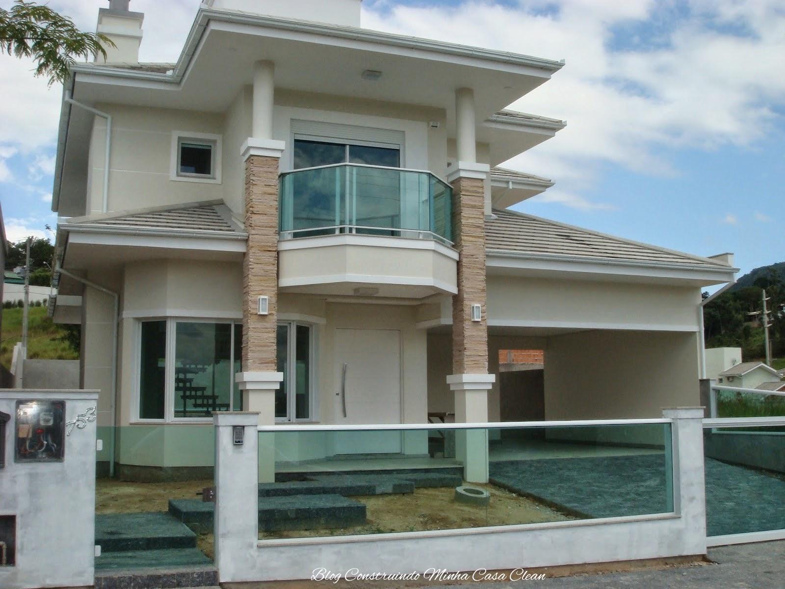 #436B88 Construindo Minha Casa Clean: Fachadas de Casas com Muros de Vidro!!! 1604 Vidros Para Janelas De Madeira