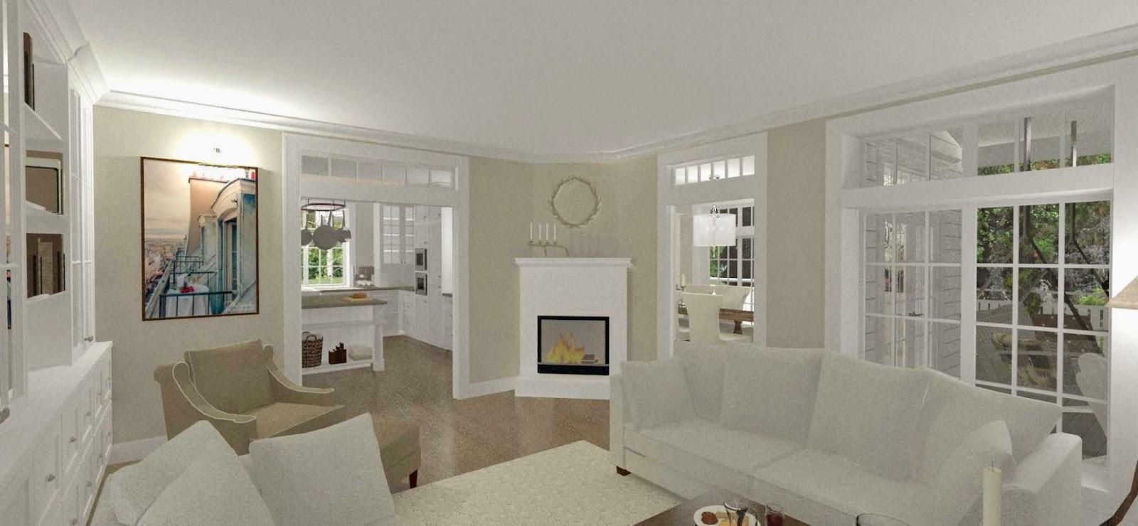 Den Vita Drömgården: New England hus med garage i souterräng delen.