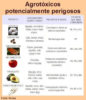 agrotóxicos perigosos nos alimentos segundo a Anvisa