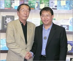 Dr Masuru Emoto (left) with CEO Fusionexcel Paul Ting