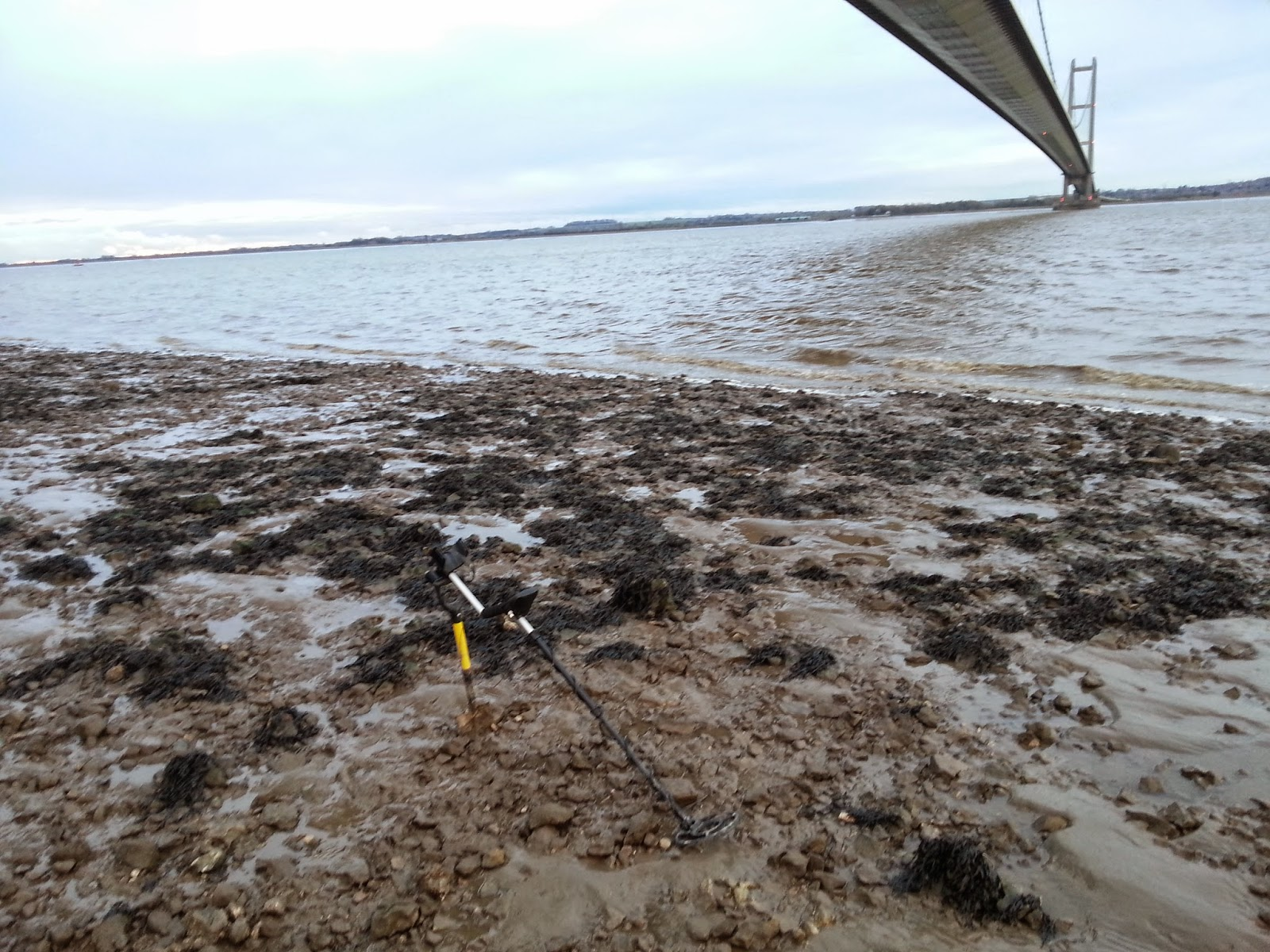 a photo of metal detecting in the river humber