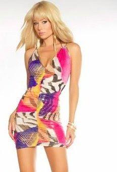 Multi Print Ruched Mini Dress