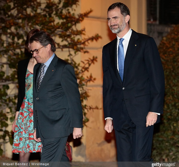 King Felipe VI of Spain and President of Catalonia's regional government Artur Mas attend tthe gala dinner for 'Mobile World Capital Barcelona' and 'GSMA' at the Palau de Pedralbes