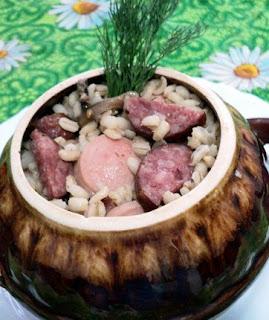 Перловка с копчёностями и грибами