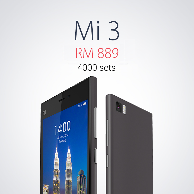 Xiaomi Mi 3 selling at RM889 and only 4,000 sets available in Malaysia