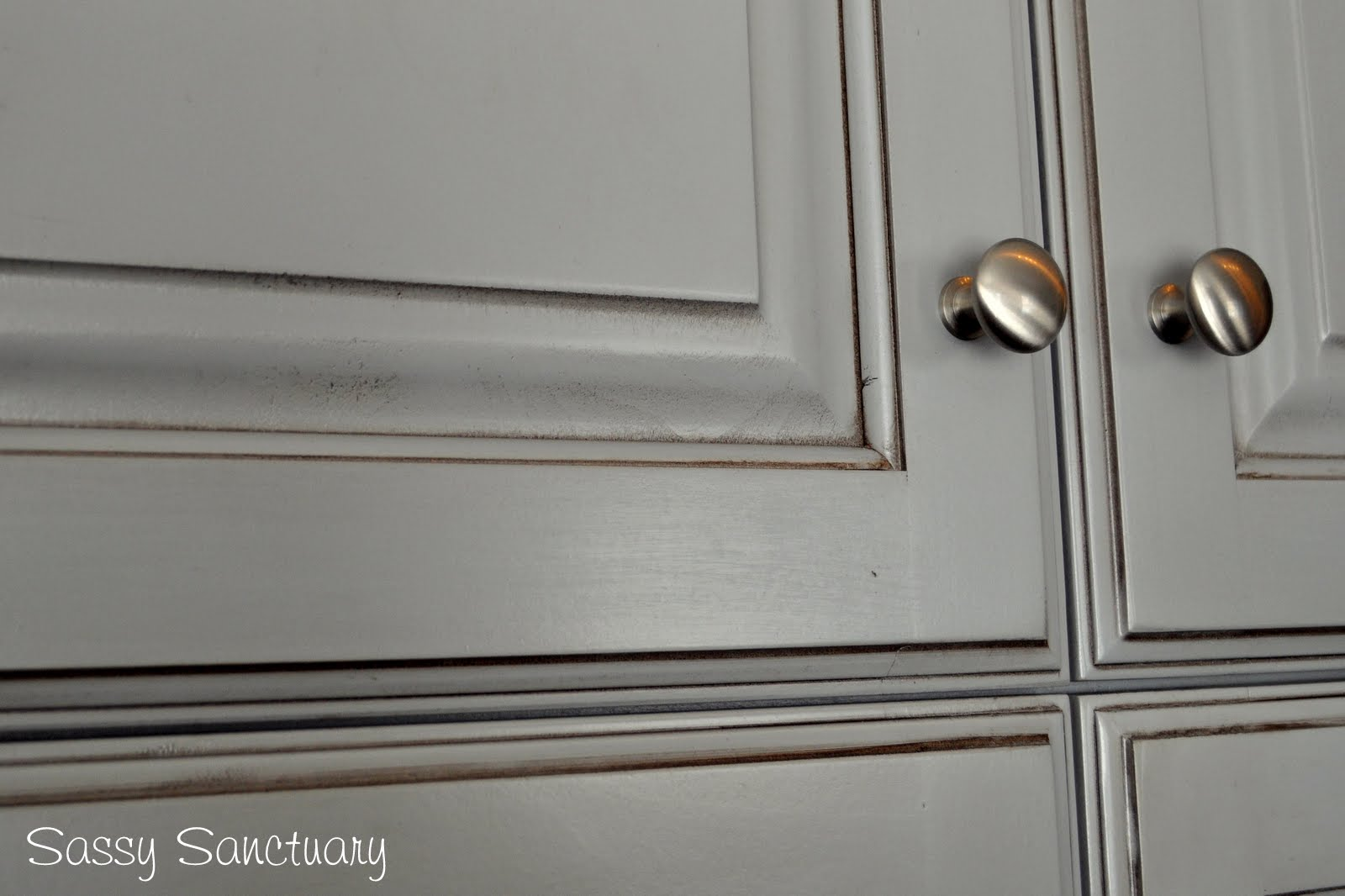 Sassy Sanctuary Kitchen Reveal - Grey glazed cabinets