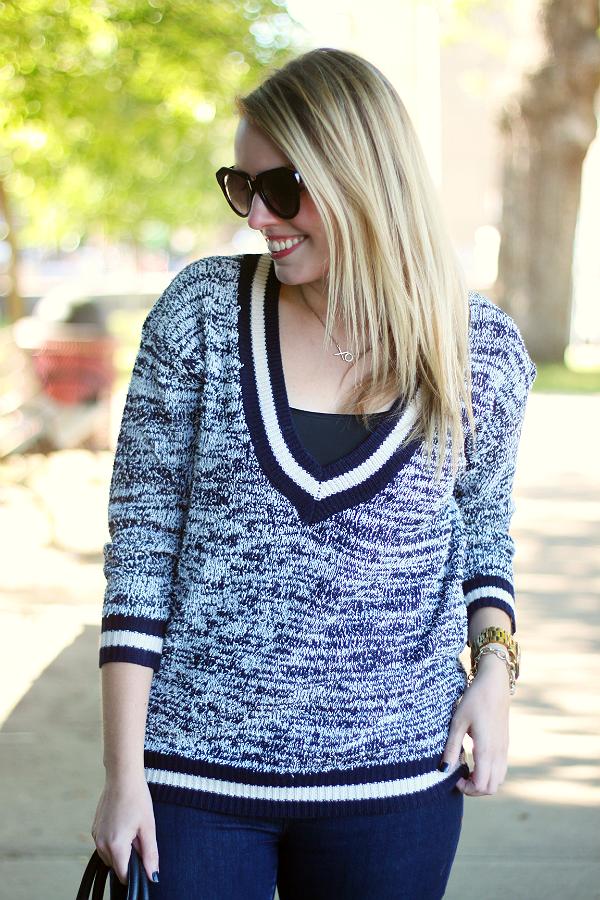V-neck Varsity Style Sweater