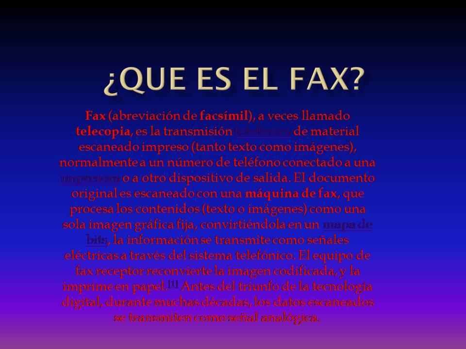 tecnologia ofimatica actividades que es el fax