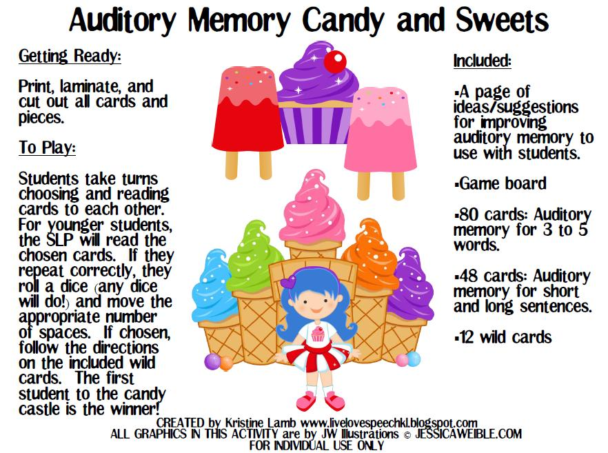 Printables Auditory Memory Worksheets live love speech auditory memory candy and sweets i these adorable graphics from jw illustrations