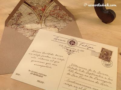 Invitaciones boda viaje vintage
