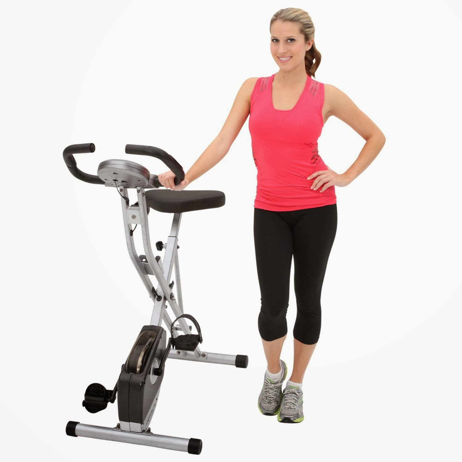 Folding Magnetic Upright Bike with Pulse Image