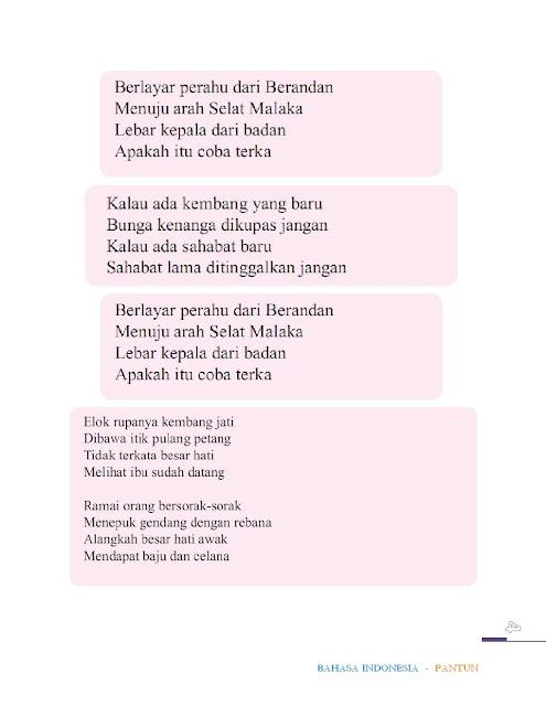 Bhs Indonesia Semester 2 Bab 8 Sd Kelas 4 Bermacam Pantun Arrayhan E Learning