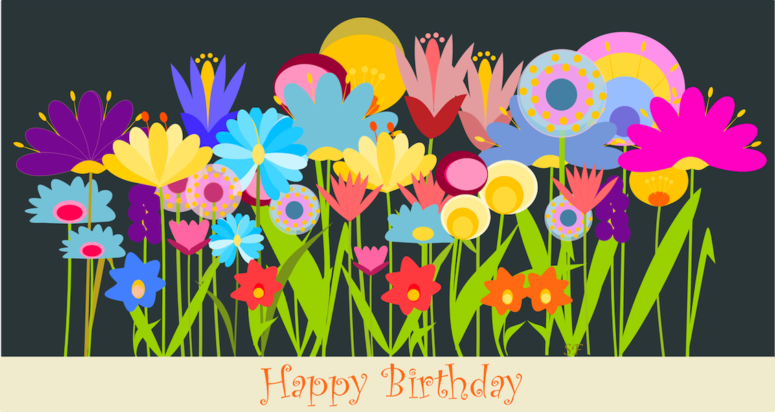 happy birthday card flower art