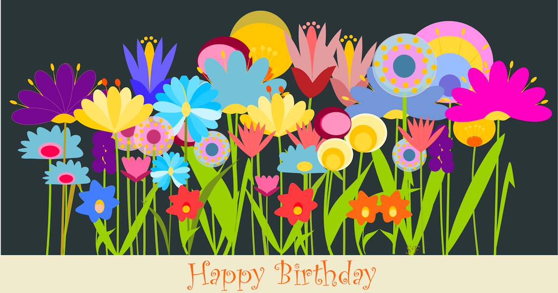 Free printable happy birthday art card with field of - Birthday cards images free download ...