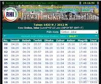 JADWAL PUASA RAMADHAN 1433-2012 LENGKAP