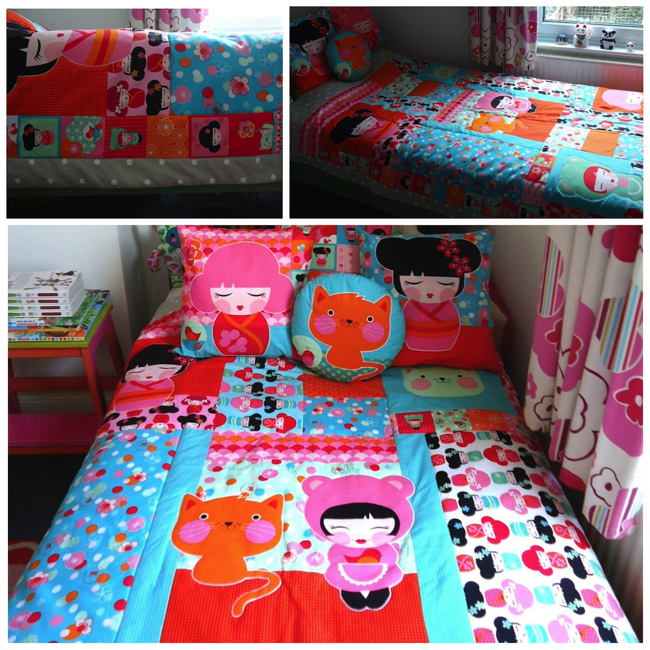 Hello Tokyo quilt and cushions in my daughter's room