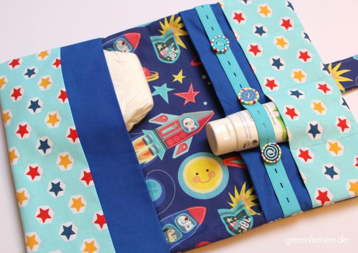 Raketenstarke Windeltasche mit Knopflochgummi und Lollypop-Knöpfen
