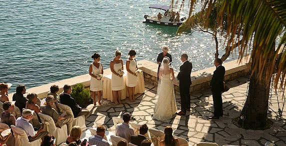 Outdoors wedding ceremony, Palm Terrace Dubrovnik