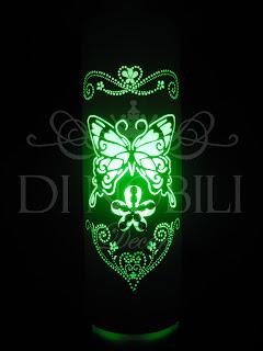 Luminária Pvc Borboleta Aplicação Conta Cristal Lâmpada Verde