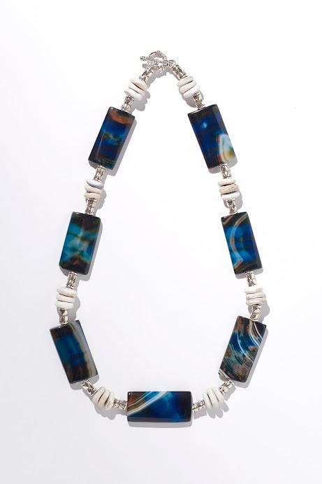 Collana agata blu, sassi e argentone