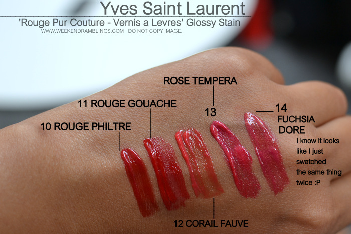 Yves Saint Laurent Rouge Pur Couture Vernis Levres Glossy Stain Swatches Indian Darker Skin Makeup Beauty Blog 10 rouge Philte 11 Gouache 12 Corail Fauve 12 Rose Tempera 14 Fuchsia Dore