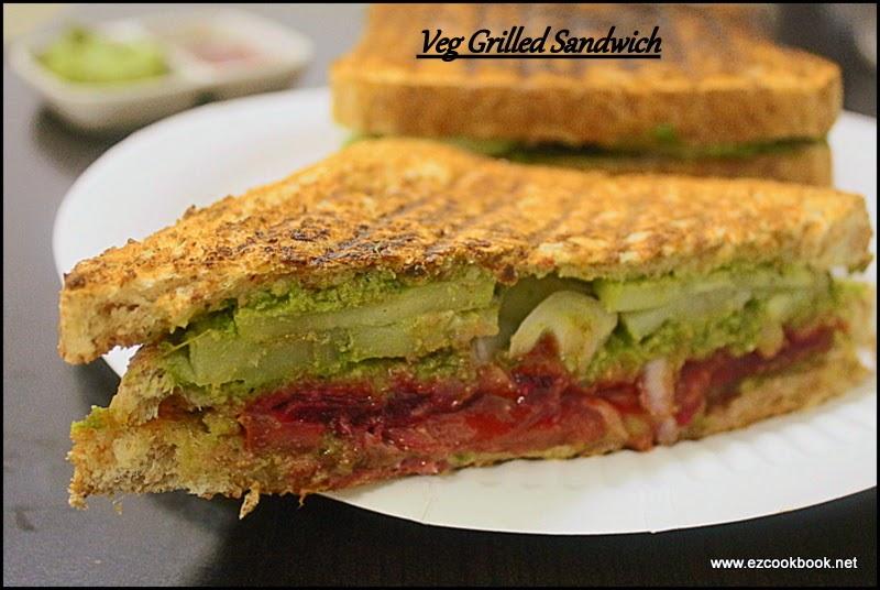 veg grilled sandwich recipe | bombay club sandwich