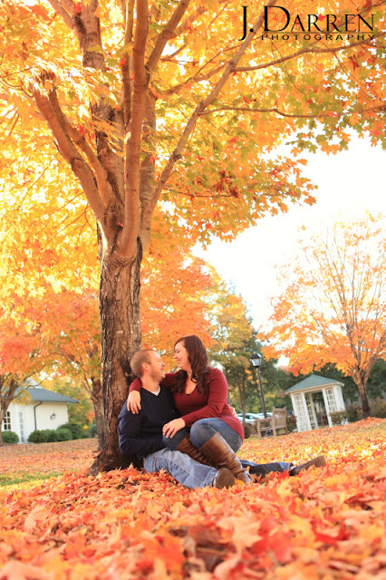 photo of Fall engagement session reynolda gardens in winston salem