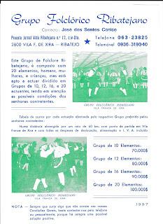 Grupo Folclorico Ribatejano Vila Franca de Xira Cartaz Publicitario 1997