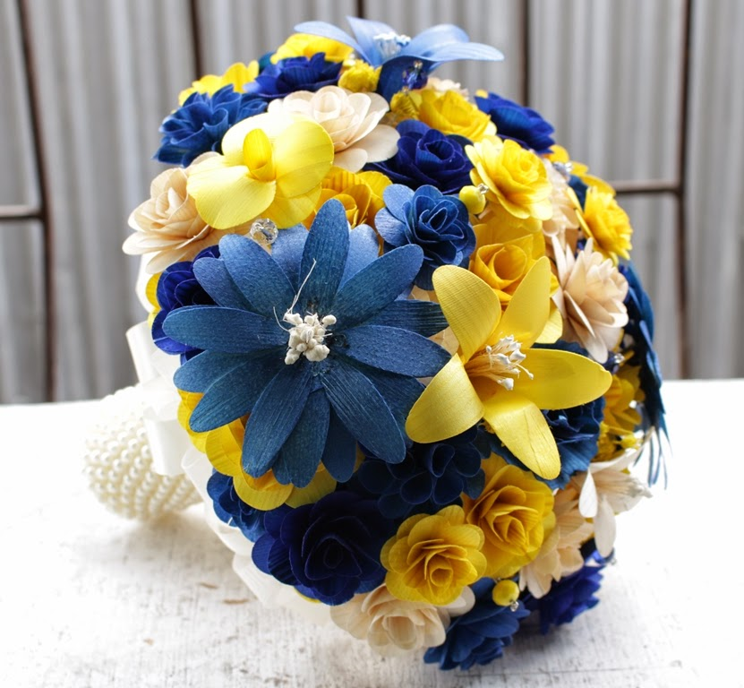 Royal blue and yellow wedding bouquets made of wooden flowers i used only four types of flowers the handle is wrapped with satin ribbons mightylinksfo