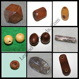 Rounded wooden plain beads